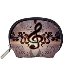 Music, Wonderful Clef With Floral Elements Accessory Pouches (Small)