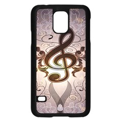 Music, Wonderful Clef With Floral Elements Samsung Galaxy S5 Case (Black)