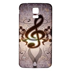 Music, Wonderful Clef With Floral Elements Samsung Galaxy S5 Back Case (White)