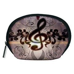 Music, Wonderful Clef With Floral Elements Accessory Pouches (Medium)