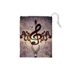 Music, Wonderful Clef With Floral Elements Drawstring Pouches (Small)