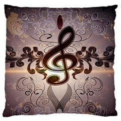 Music, Wonderful Clef With Floral Elements Large Flano Cushion Cases (One Side)