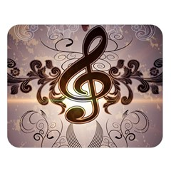 Music, Wonderful Clef With Floral Elements Double Sided Flano Blanket (Large)