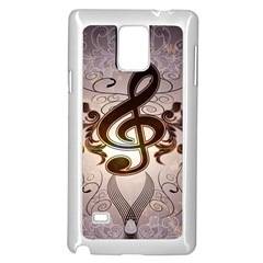 Music, Wonderful Clef With Floral Elements Samsung Galaxy Note 4 Case (white)