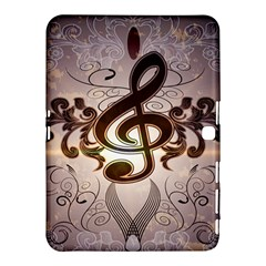Music, Wonderful Clef With Floral Elements Samsung Galaxy Tab 4 (10.1 ) Hardshell Case