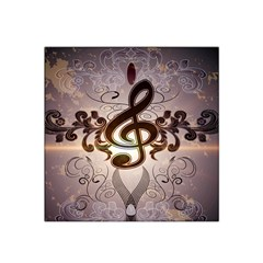 Music, Wonderful Clef With Floral Elements Satin Bandana Scarf