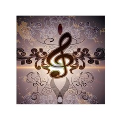 Music, Wonderful Clef With Floral Elements Small Satin Scarf (Square)