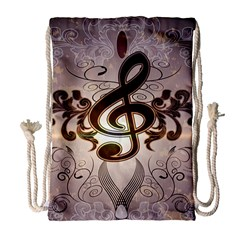 Music, Wonderful Clef With Floral Elements Drawstring Bag (Large)