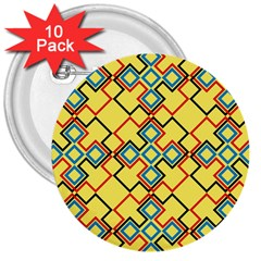 Shapes on a yellow background 3  Button (10 pack)