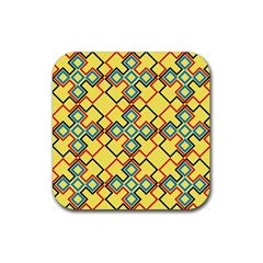 Shapes On A Yellow Background Rubber Square Coaster (4 Pack)