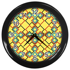 Shapes on a yellow background Wall Clock (Black)