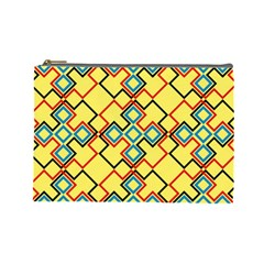 Shapes on a yellow background Cosmetic Bag (Large)