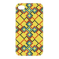 Shapes on a yellow background Apple iPhone 4/4S Premium Hardshell Case