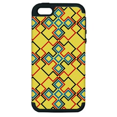 Shapes on a yellow background Apple iPhone 5 Hardshell Case (PC+Silicone)