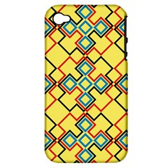 Shapes on a yellow background Apple iPhone 4/4S Hardshell Case (PC+Silicone)