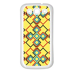 Shapes on a yellow background Samsung Galaxy S3 Back Case (White)