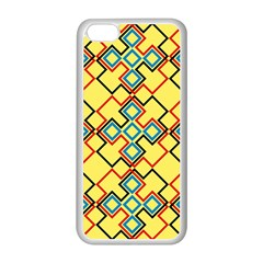 Shapes on a yellow background Apple iPhone 5C Seamless Case (White)