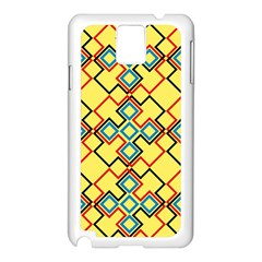 Shapes on a yellow background Samsung Galaxy Note 3 N9005 Case (White)