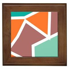 Misc shapes in retro colors Framed Tile