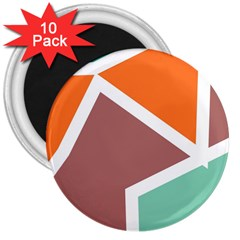 Misc Shapes In Retro Colors 3  Magnet (10 Pack)