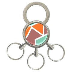 Misc shapes in retro colors 3-Ring Key Chain