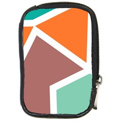Misc shapes in retro colors Compact Camera Leather Case