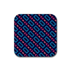 Rectangles and other shapes pattern Rubber Square Coaster (4 pack)