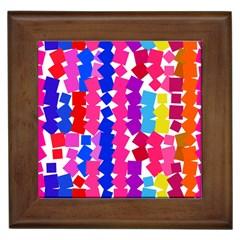 Colorful squares Framed Tile