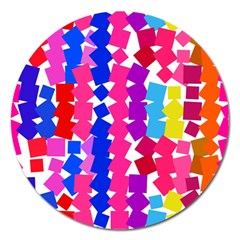 Colorful Squares Magnet 5  (round)