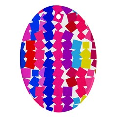 Colorful squares Oval Ornament (Two Sides)