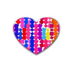 Colorful squares Heart Coaster (4 pack)