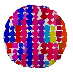 Colorful squares Large 18  Premium Round Cushion
