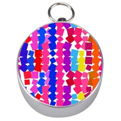 Colorful Squares Silver Compass