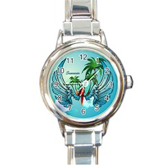 Summer Design With Cute Parrot And Palms Round Italian Charm Watches