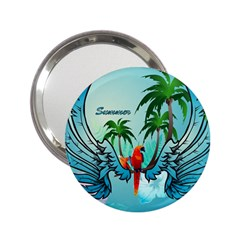 Summer Design With Cute Parrot And Palms 2 25  Handbag Mirrors