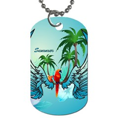 Summer Design With Cute Parrot And Palms Dog Tag (one Side)