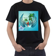 Summer Design With Cute Parrot And Palms Men s T Shirt (black) (two Sided)