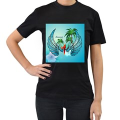 Summer Design With Cute Parrot And Palms Women s T Shirt (black) (two Sided)