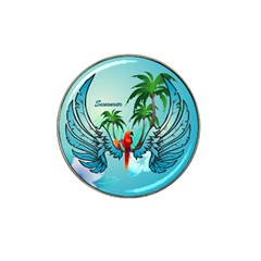 Summer Design With Cute Parrot And Palms Hat Clip Ball Marker (4 Pack)