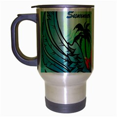 Summer Design With Cute Parrot And Palms Travel Mug (silver Gray)