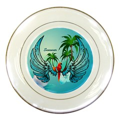 Summer Design With Cute Parrot And Palms Porcelain Plates
