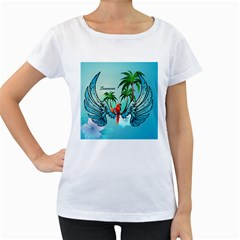 Summer Design With Cute Parrot And Palms Women s Loose-Fit T-Shirt (White)