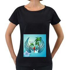 Summer Design With Cute Parrot And Palms Women s Loose Fit T Shirt (black)
