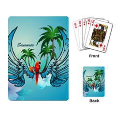 Summer Design With Cute Parrot And Palms Playing Card