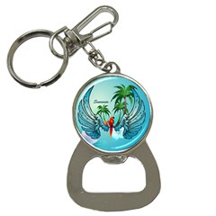 Summer Design With Cute Parrot And Palms Bottle Opener Key Chains