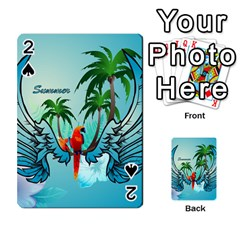 Summer Design With Cute Parrot And Palms Playing Cards 54 Designs