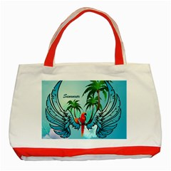 Summer Design With Cute Parrot And Palms Classic Tote Bag (red)