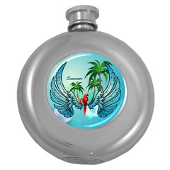 Summer Design With Cute Parrot And Palms Round Hip Flask (5 Oz)