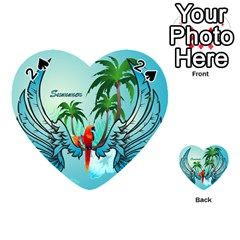 Summer Design With Cute Parrot And Palms Playing Cards 54 (heart)