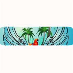 Summer Design With Cute Parrot And Palms Large Bar Mats